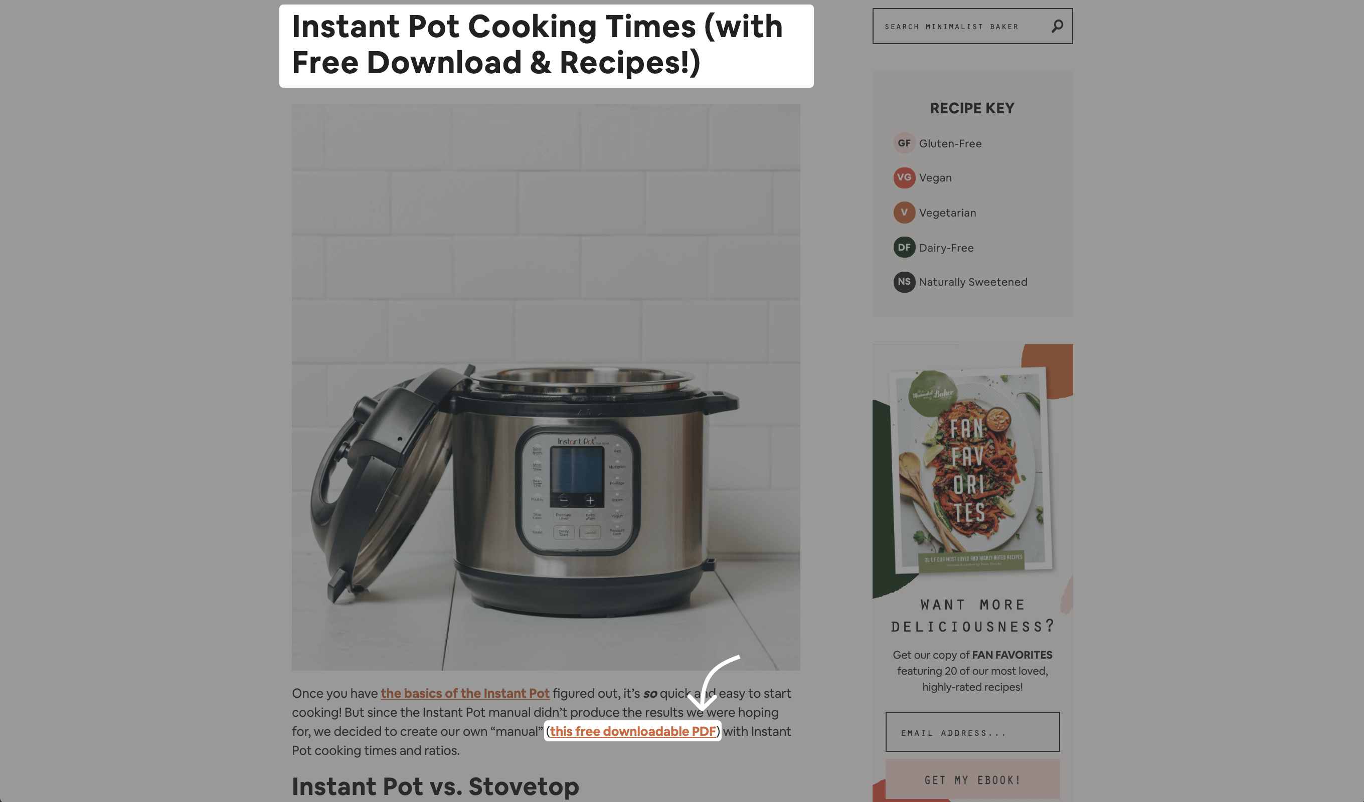 Example Funnel with an Instant Pot