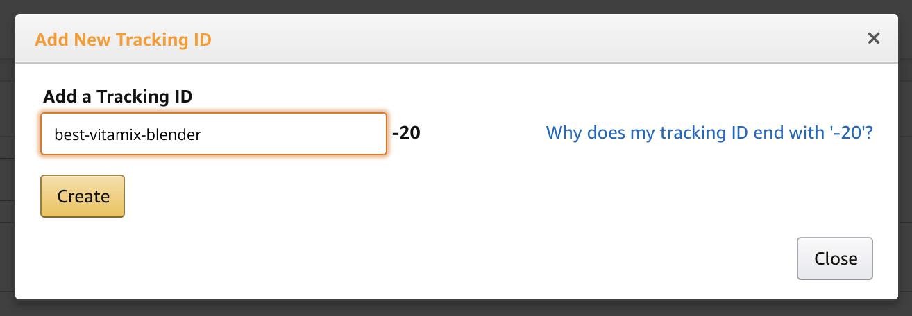 Create tracking ID for Amazon affiliate program