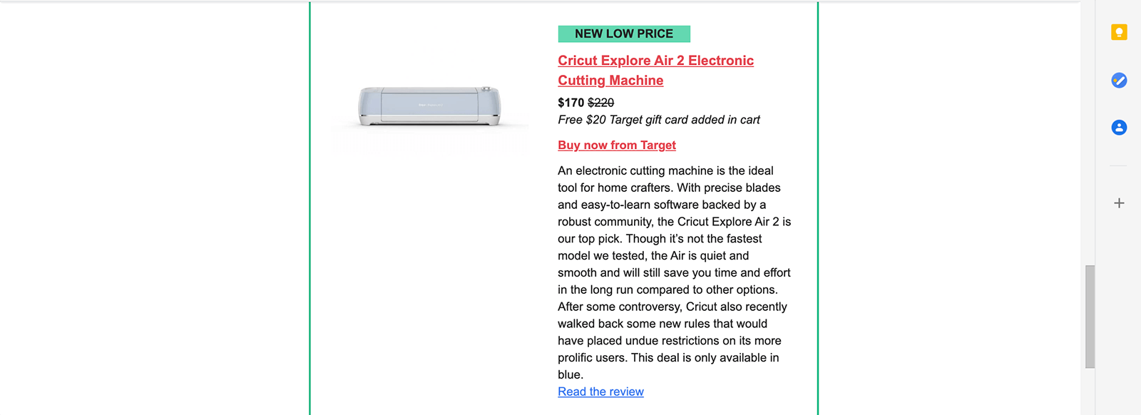 Affiliate Email Example from Wirecutter