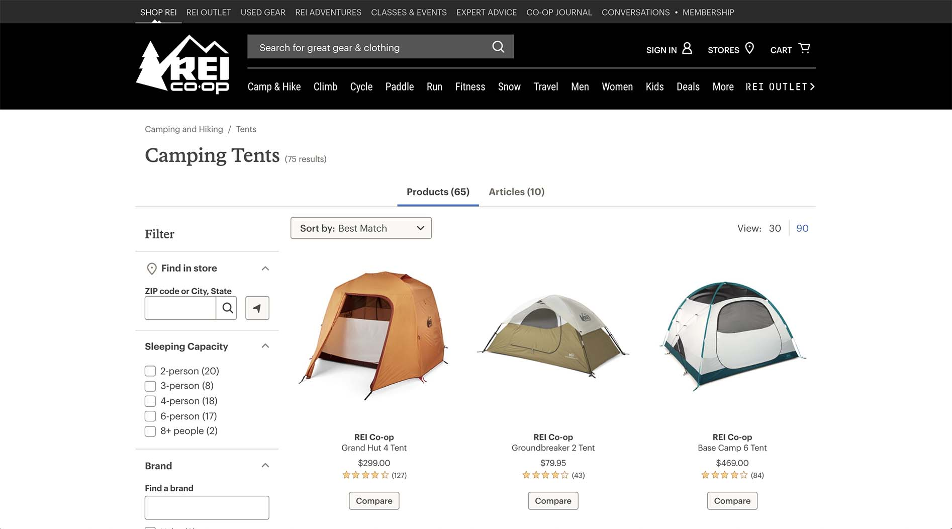 Outdoors tents