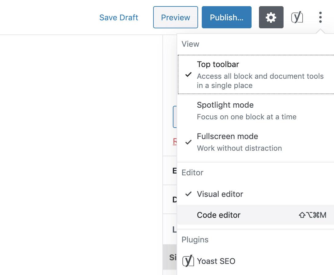 Edit page code in WordPress